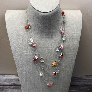 Jewelry - Pink and red multistrand illusion necklace